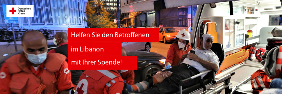 Spendenbanner: Helfen Sie den Betroffenen im Libanon mit Ihrer Spende!